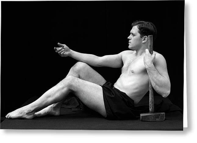 1920s Man Semi Nude Classical Pose Greeting Card