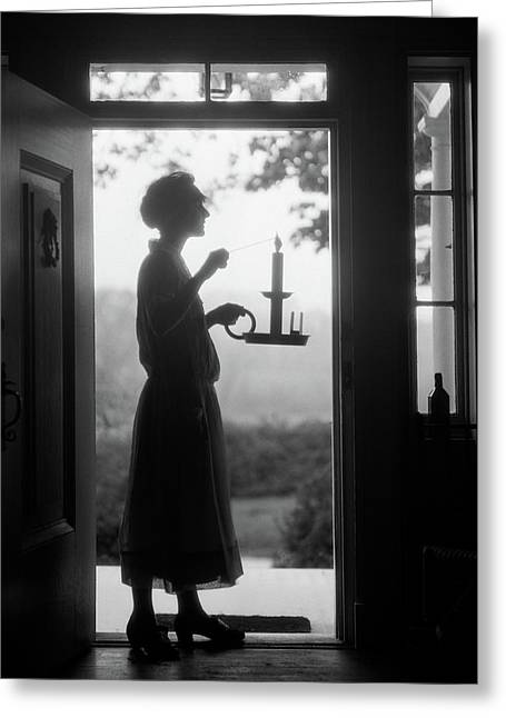 1920s Silhouette Of Anonymous Woman Greeting Card