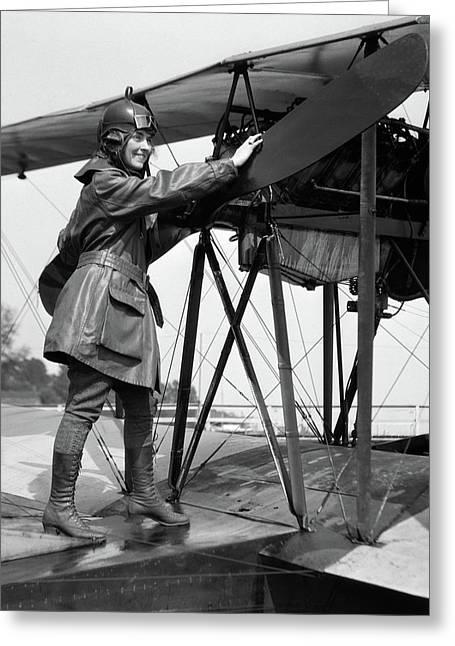 1920s Smiling Woman Aviator Turning Greeting Card