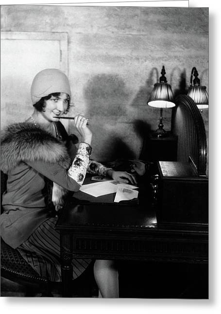 1920s Smiling Woman With Pen To Lips Greeting Card