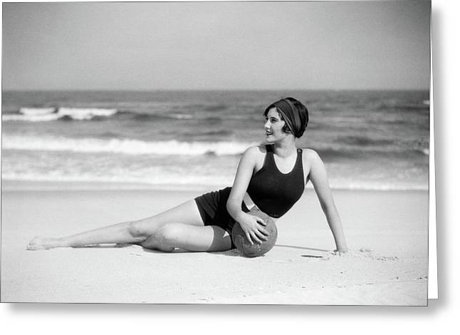 1920s Woman In Bathing Suit Stretched Greeting Card