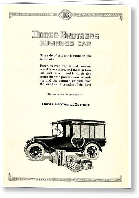 1921 - Dodge Brothers Business Car Truck Advertisement Greeting Card by John Madison