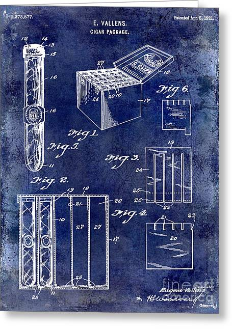 1921 Cigar Package Patent Drawing Blue Greeting Card
