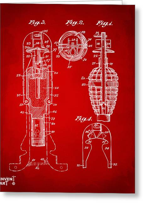 1921 Explosive Missle Patent Minimal Red Greeting Card by Nikki Marie Smith