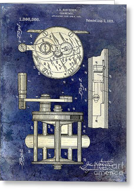 1921 Fishing Reel Patent Drawing 2 Tone Blue Greeting Card by Jon Neidert