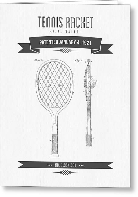 1921 Tennis Racket Patent Drawing - Retro Gray Greeting Card by Aged Pixel