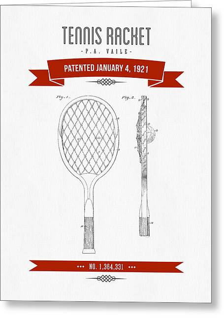 1921 Tennis Racket Patent Drawing - Retro Red Greeting Card by Aged Pixel