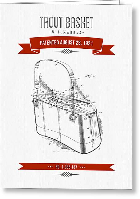 1921 Trout Basket Patent Drawing - Red Greeting Card by Aged Pixel