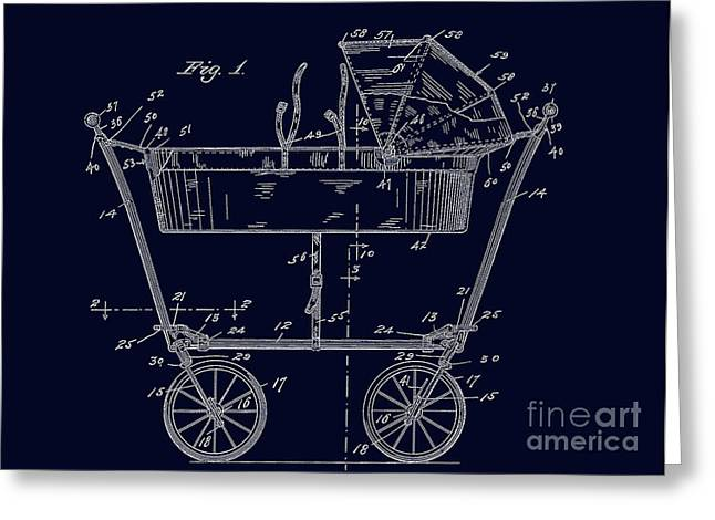 1922 Baby Carriage Patent Art Blueprint Greeting Card by Lesa Fine