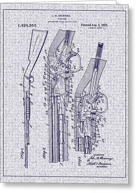 1922 Browning Firearm Patent Greeting Card by Barry Jones