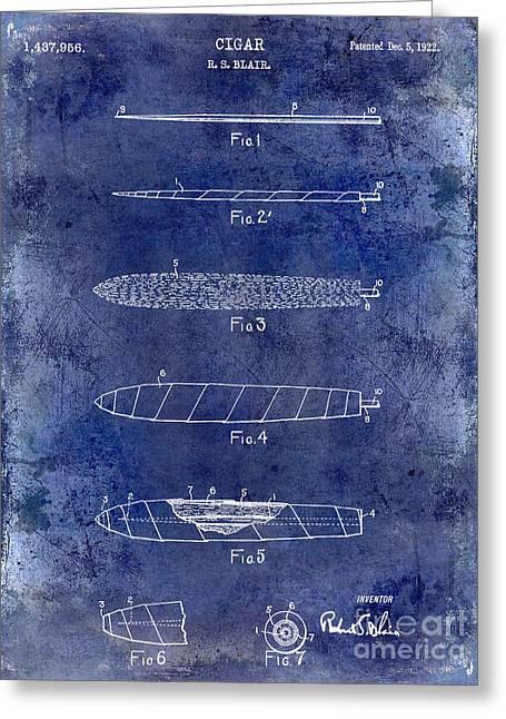 1922 Cigar Patent Drawing Blue Greeting Card