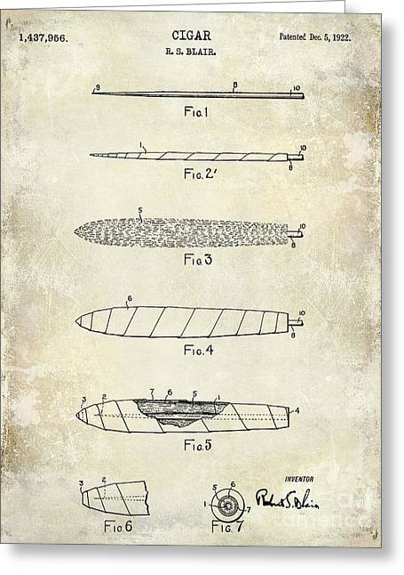 1922 Cigar Patent Drawing Greeting Card