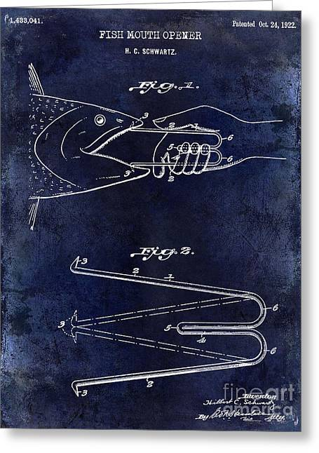 1922 Fish Mouth Opener Patent Drawing Blue Greeting Card by Jon Neidert