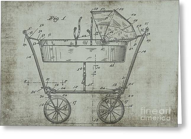 1922 Mahr Baby Carriage Patent Art Green Greeting Card