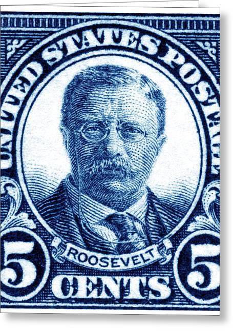 1922 Theodore Roosevelt Stamp Greeting Card by Historic Image