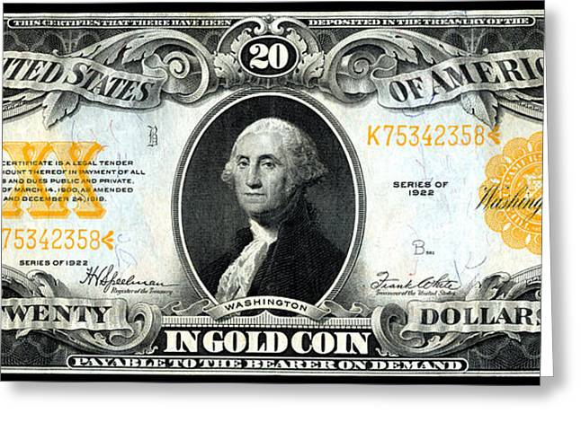 1922 Twenty Dollar Gold Certificate Greeting Card by Historic Image