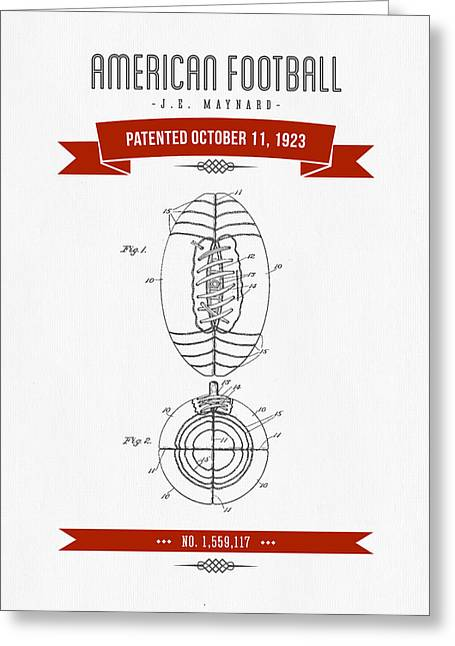 1923 American Football Patent Drawing - Retro Red Greeting Card by Aged Pixel