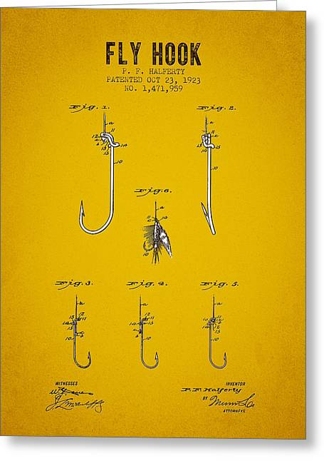 1923 Fly Hook Patent - Yellow Brown Greeting Card
