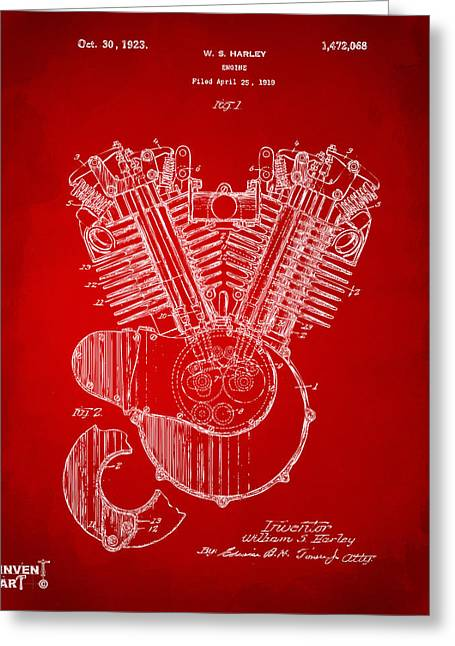 1923 Harley Engine Patent Art Red Greeting Card by Nikki Marie Smith