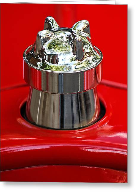 1924 Greeting Cards - 1924 Ford T Roadster Hood Ornament -331c Greeting Card by Jill Reger