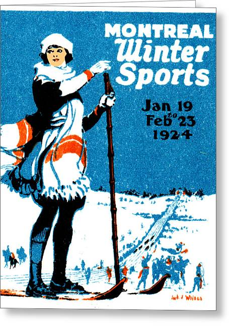 1924 Montreal Winter Sports Poster Greeting Card by Historic Image
