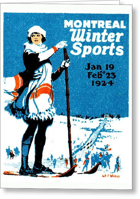 1924 Montreal Winter Sports Poster Greeting Card