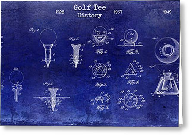 1924 To 1974 Golf Tee Patent History Drawing Blue Greeting Card by Jon Neidert
