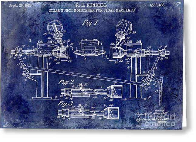 1925 Cigar Moistening Patent Drawing Blue Greeting Card