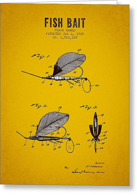 1925 Fish Bait Patent - Yellow Brown Greeting Card by Aged Pixel