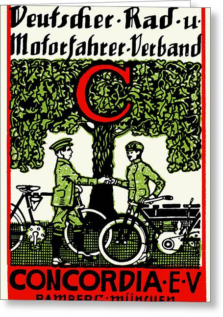 1925 German Bicycle And Motorcycle Club Greeting Card by Historic Image