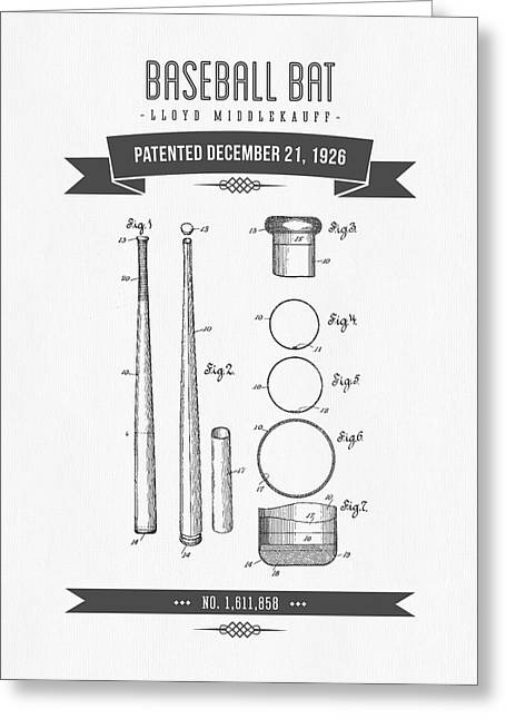 1926 Baseball Bat Patent Drawing Greeting Card by Aged Pixel