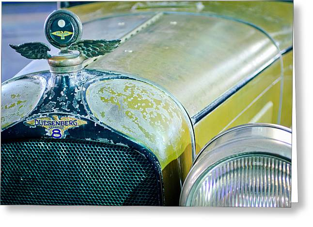 1926 Duesenberg Hood Ornament - Motometer Greeting Card by Jill Reger