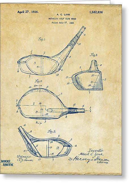 1926 Golf Club Patent Artwork - Vintage Greeting Card