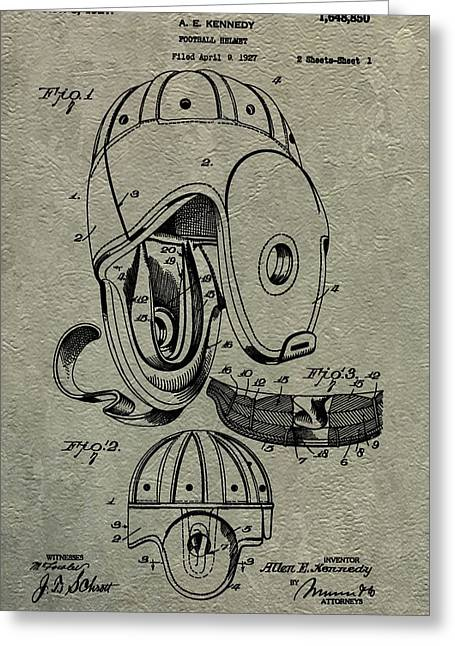 1927 Football Helmet Patent Greeting Card by Dan Sproul