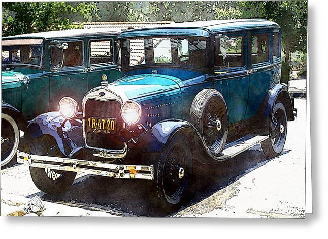 Greeting Card featuring the photograph 1927 Ford Lights On by William Havle
