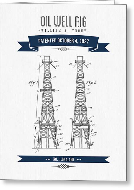 1927 Oil Well Rig Patent Drawing - Retro Navy Blue Greeting Card by Aged Pixel