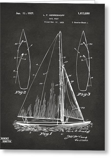 1927 Sailboat Patent Artwork - Blueprint Greeting Card