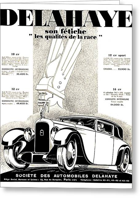 1928 - Delehaye Automobile Advertisement Greeting Card