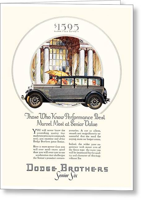 1928 - Dodge Brothers Automobile Advertisement - Color Greeting Card by John Madison