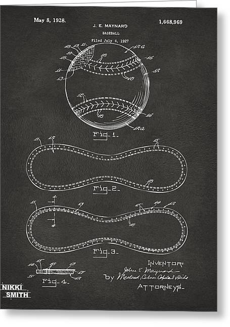 1928 Baseball Patent Artwork - Gray Greeting Card by Nikki Marie Smith