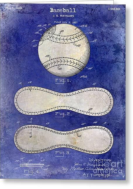 1928 Baseball Patent Drawing 2 Tone Blue Greeting Card by Jon Neidert