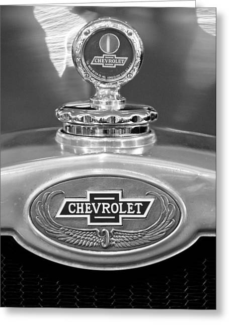 1928 Chevrolet 2 Door Coupe Hood Ornament Moto Meter Greeting Card by Jill Reger