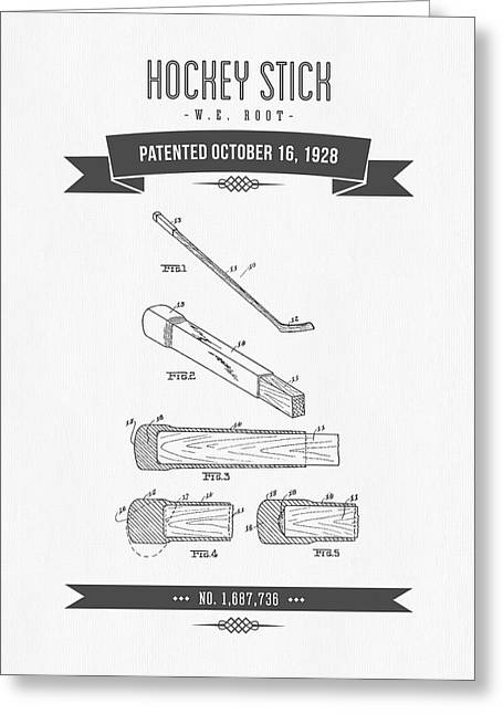 1928 Hockey Stick Patent Drawing - Retro Gray Greeting Card