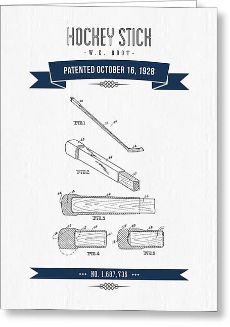 1928 Hockey Stick Patent Drawing - Retro Navy Blue Greeting Card