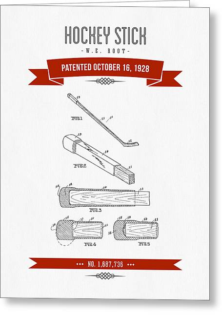 1928 Hockey Stick Patent Drawing - Retro Red Greeting Card