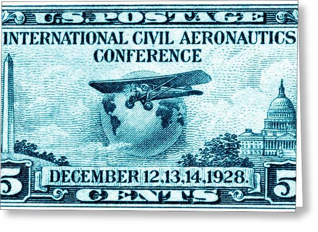 1928 International Civil Aeronautics Stamp Greeting Card by Historic Image