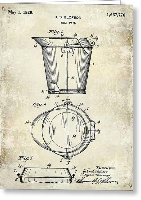 1928 Milk Pail Patent Drawing Greeting Card