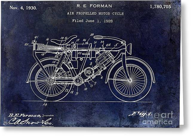 1928 Motorcycle Patent Drawing Blue Greeting Card