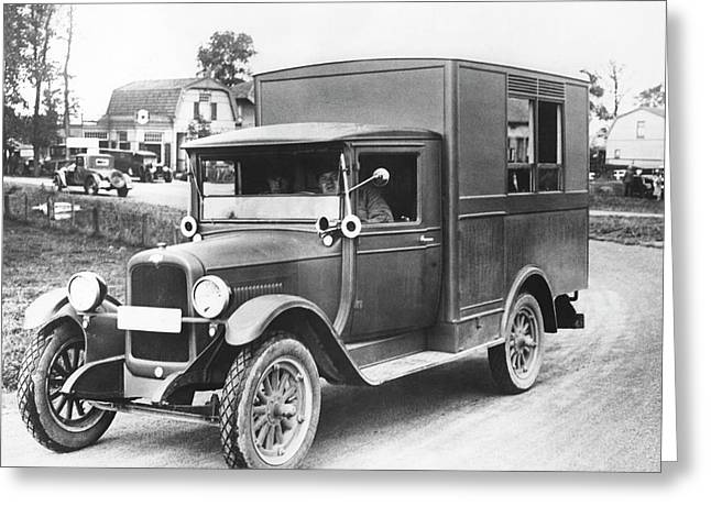 1928 Olympic Broadcast Truck Greeting Card by Underwood Archives