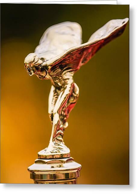 1928 Rolls-royce Phantom I Sedenca De Ville Hood Ornament Greeting Card